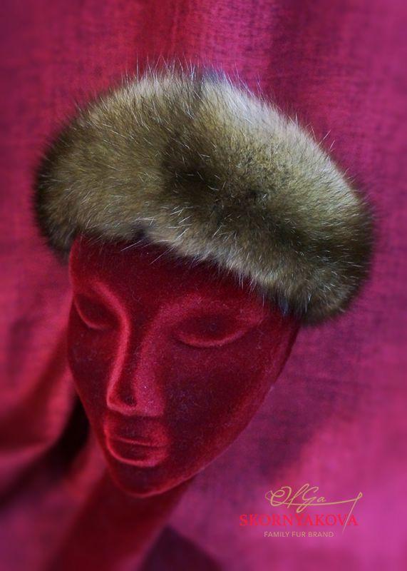 Меховая повязка на голову из темного соболя