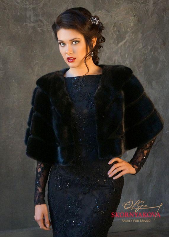 Накидка на вечернее платье из норки.Дизайн Скорняковой О. Цвет коричн